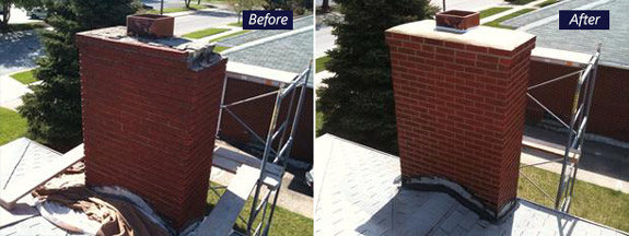 Chimney before and after