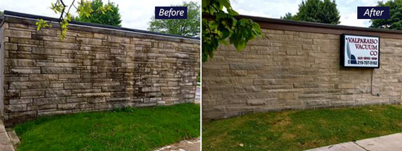 Block wall before and after